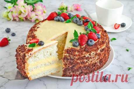 Бисквитный торт с заварным кремом рецепт с фото пошагово - 1000.menu