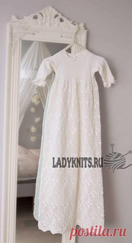 Шикарное крестильное ажурное платье спицами