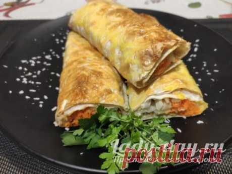 Лаваш с курицей, сыром и овощами в духовке, рецепт с фото пошагово