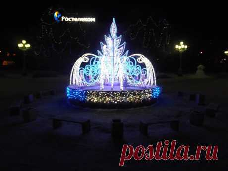 Новогодний  фонтан  в  Мурманске