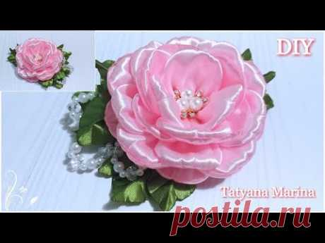 Цветы из атласной ленты 5 см / Канзаши МК / DIY