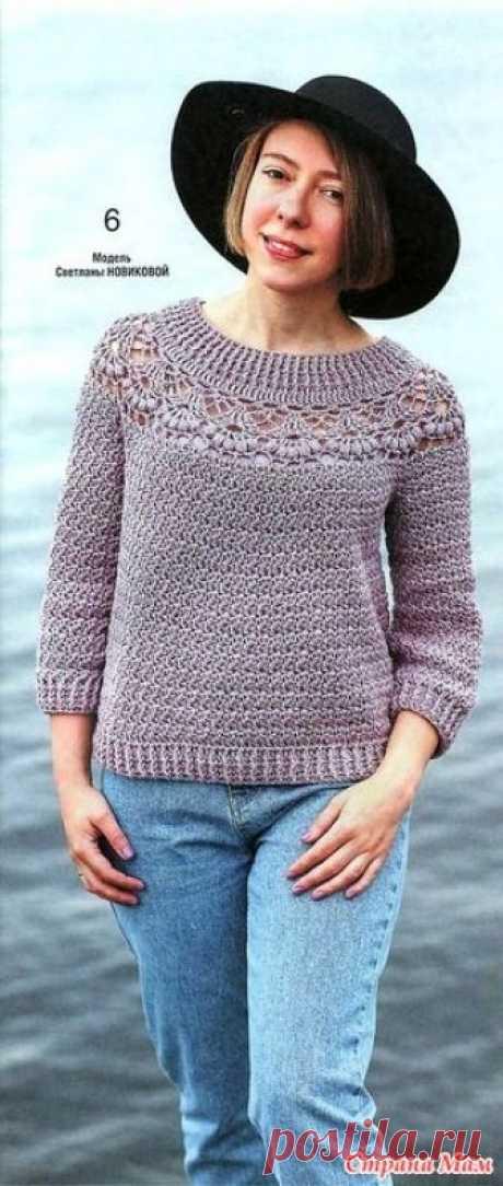 . Ажурный пуловер цвета пыльной розы. Этот пуловер цвета пыльной розы с круглой кокеткой выполненной узором лилии смотриться роскошно и очень изящно. Вяжем крючком №1 2019.