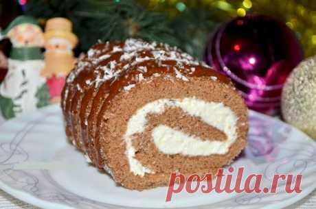 Лучшие кулинарные рецепты : Шоколадный рулет с творожным кремом