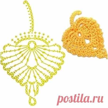 """Милый мотив """"Желтый листик"""" для любителей ирландского кружева из категории Интересные идеи – Вязаные идеи, идеи для вязания"""