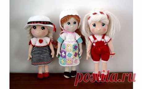 Куколки ростом 21-22 см Вязаные крючком куколки ростом 21-22 см. Схема