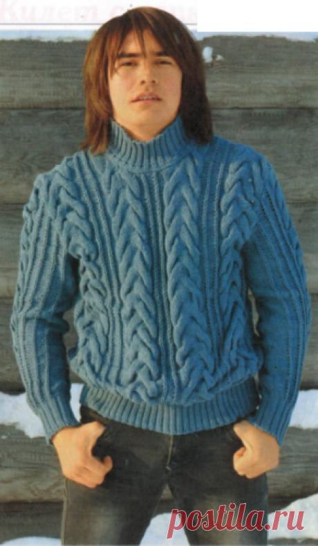 """Мужской свитер с """"косами"""" спицами Мужской свитер с косами, вязаный спицами"""