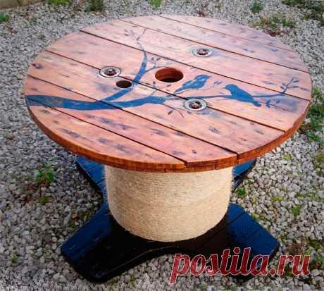 Стол из катушки для кабеля: пошаговое изготовление фото