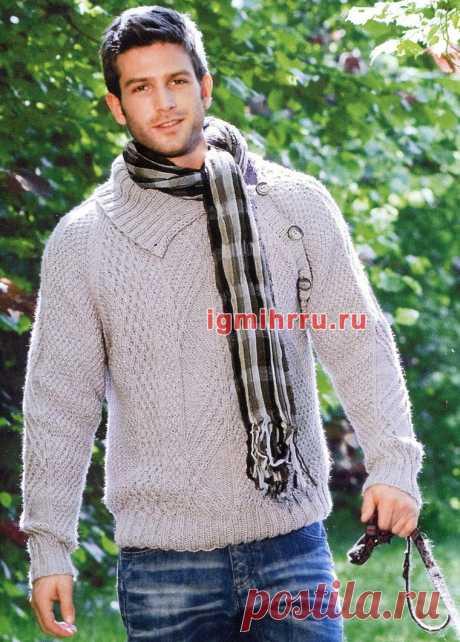 Мужской пуловер с ирландскими узорами. Вязание спицами со схемами и описанием