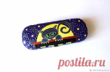 """Футляр для очков """"Черный кот"""" – купить в интернет-магазине на Ярмарке Мастеров с доставкой - F2OQJRU"""