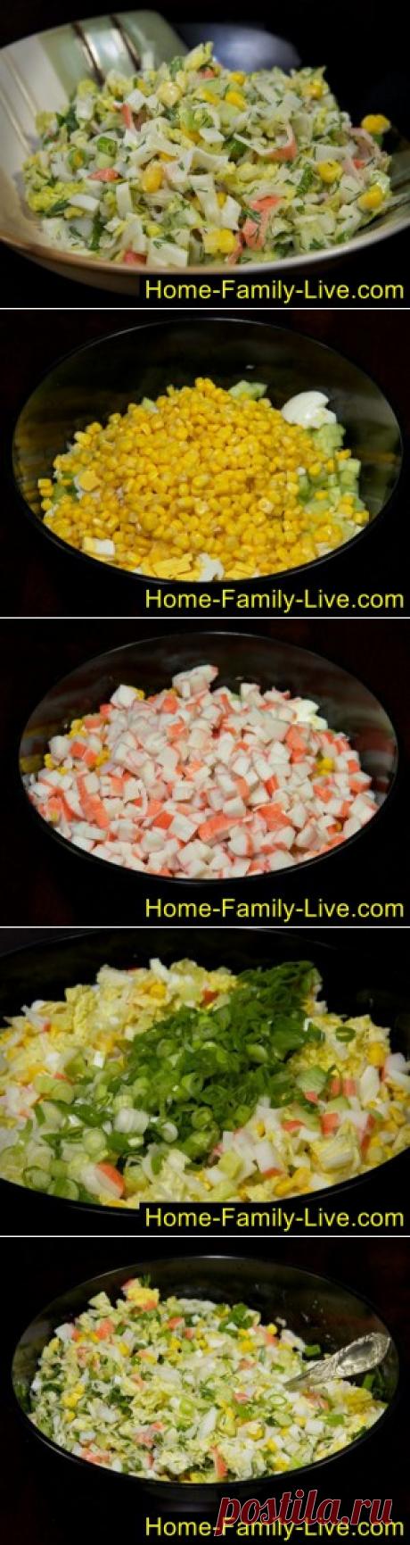 La ensalada de las varitas de centolla con el pepino - poshagovyy fotoretseptkulinarnye las recetas