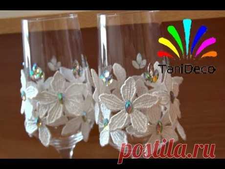 """Бокалы """"Белые цветы"""" Glasses """"White flowers"""""""