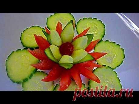 Цветок из огурца! Украшения из огурца. Flower of Cucumber Decoration of Cucumber - YouTube