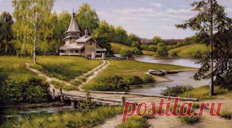 Предпросмотр схемы вышивки «церквушка у реки» - Вышивка крестом