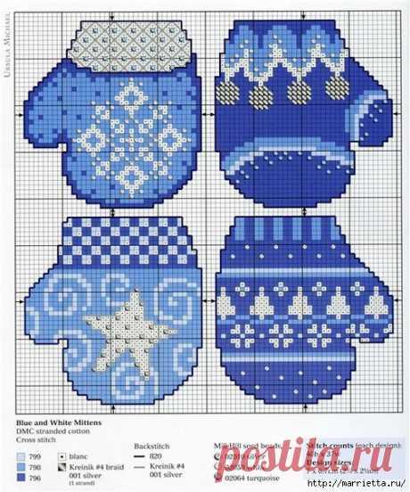 По просьбам читателей - схемы для красивой новогодней вышивки крестом