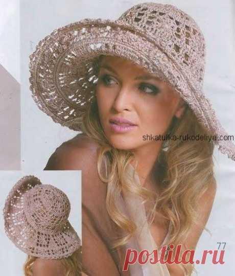 Элегантная женская шляпка Элегантная женская шляпка крючком. Ажурная женская пляжная шляпка крючком 2019
