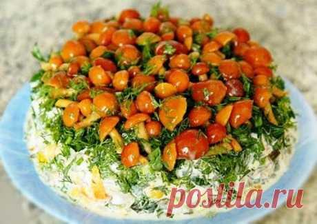 """САЛАТ """"СОСНОВЫЙ БОР"""" с маринованными грибами   Ингредиенты:  6 средних картофелин  300 – 400 гр. куриного филе или любого другого мяса  5 яиц  1 луковица  250 грибов маринованных  Зелень по вкусу и желанию  Майонез  Соль и перец по вкусу    Приготовление:    Картофель, яйца и мясо отварить до готовности.    Если грибы крупные нарезаем пластинами, а мясо и картофель – кубиками. Яйца натираем на крупной терке. Все смешиваем, солим и перчим. Заправляем майонезом. Выкладываем ..."""