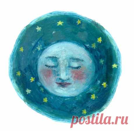 Fine Art Print- Moon Face | Full moon, moon phase, illustration, celestial, stars, night sky, boho, watercolor, blue, portrait, galaxy 10x10 Fine Art Print from original painting by Katherine Lewis  >>>Archival fine art print on textured watercolor paper. >>>White border included around image, ready for framing. >>>Ships directly from print shop. >>>Packaged flat or rolled, depending on size. Includes plastic protective sleeve.
