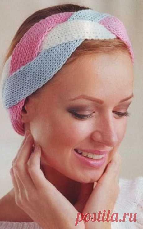 Вязаная повязка на голову спицами - подборка схем для вязания