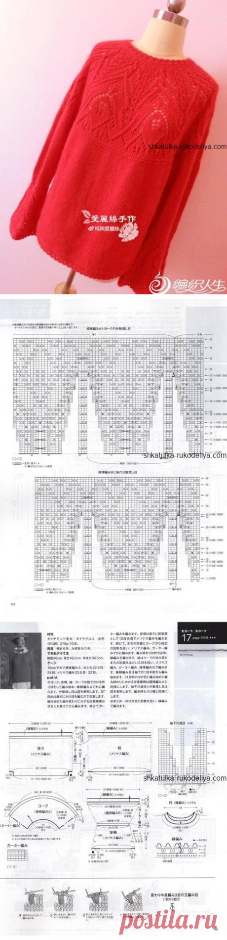 Пуловер с круглой кокеткой спицами. Женский пуловер с расклешенным рукавом спицами 2019 | Шкатулка рукоделия. Сайт для рукодельниц.