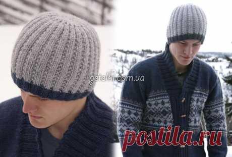 Мужская шапка спицами. Схема, описание вязания
