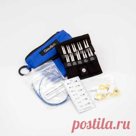 Наборы спиц для вязания Chiaogoo Twist Shorties Small набор съемных укороченных металлических спиц ChiaoGoo (синий чехол) | поделки к Пасхе