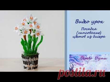 Посадка (гипсование) цветов из бисера