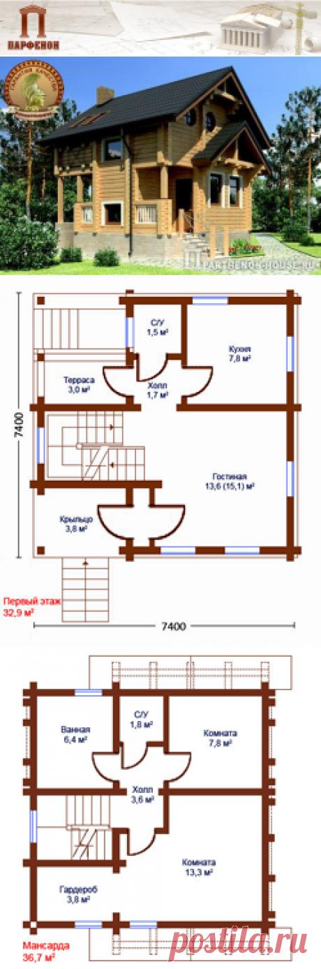 Проект небольшого дачного дома из клееного бруса ДБП 94-6  Площадь застройки: 63,03 кв.м. Площадь общая: 101,23 кв.м. Площадь жилая: 35,95 кв.м. Высота в цокольном этаже: 2,530 м. Высота 1 этажа: 2,750 м. Высота в мансарде: от 1,400 м. Высота дома в коньке от уровня земли: 8,720 м.   Технология и конструкция: Строительство дома из бруса.
