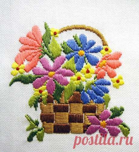 Разноцветные ромашки, техника длинный стежок (long stitch) | ВЕРА БУРОВА, канал про вышивку | Яндекс Дзен