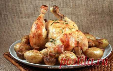 Как приготовить курица, запечённая с грибами - рецепт, ингридиенты и фотографии