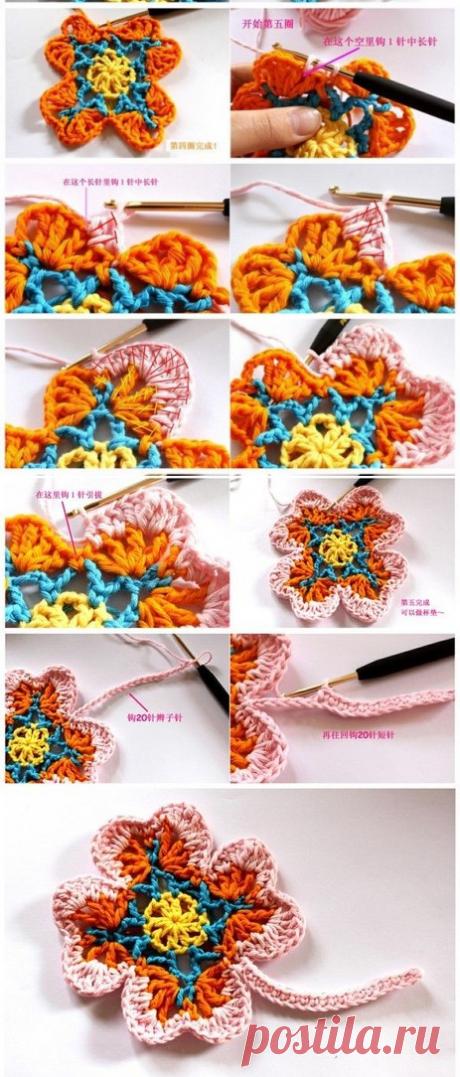 многоцветный растительный мотив крючком