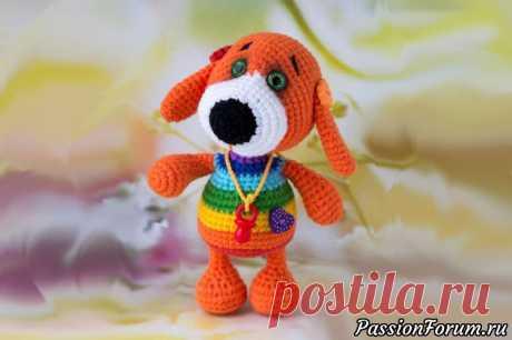 Радужный щенок амигуруми. МК Надежды Огородновой