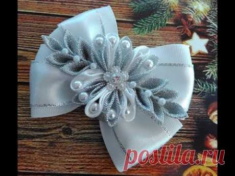 Новогодние бантики со снежинкой МК Канзаши / Christmas bows  / Natal fitaswith snowflake