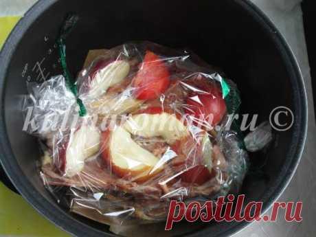 Утка с яблоками, запеченная в мультиварке -пошаговый рецепт с фото