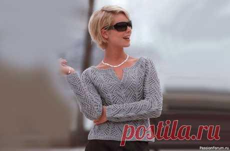 Ажурный пуловер реглан. Описание | Вязание для женщин спицами. Схемы вязания спицами Этот пуловер реглан связан спицами ажурным узором. Замечательно подойдет для весенних и осенних дней.Размер: 34/36.Вам потребуется: 450 г серой пряжи Scooter (55% хлопка, 36% полиакрила, 9% полиамида, 85 м/50 г); спицы № 3.5 и № 4; круговые спицы № 3.5.Резинка: попеременно 1 лиц., 1...