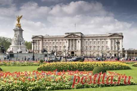 Знаменитый Букингемский дворец, расположенный в столице Англии - Лондоне.
