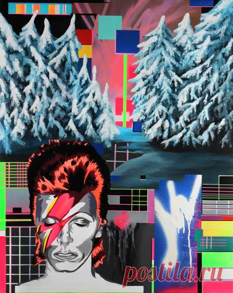 Lebedef Art На этой плоскости холста  Lebedef изобразил яркий портрет Дэвида Боуи находящегося в мире сбоя мысли художника и мира в целом. Переизбыток информации оставил отпечаток на сюжете. На заднем плане мы видим граффити слегка напоминающие небо. Чуть ниже зимний, еловый, заснеженной лес. Вот-вот с веток начнет падать снег. Далее картину постепенно наполняет сбой и ошибка. Яркие пиксели и полосы сбоя символизируют то наложение информации которое происходит в голове обывателя.