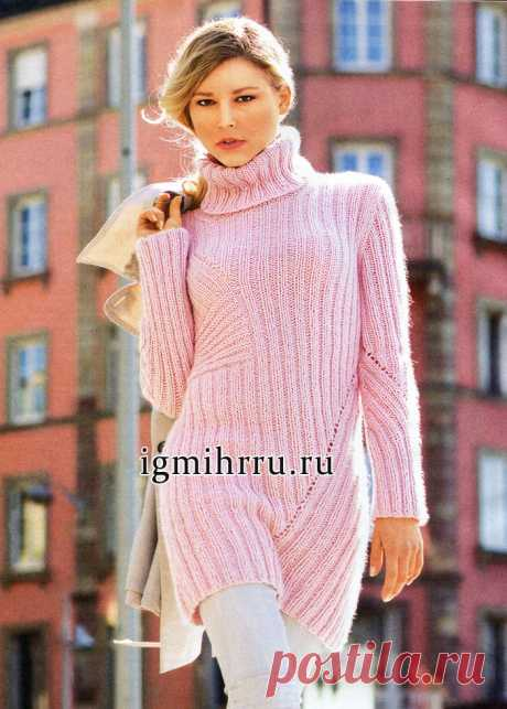 The EXTENDED SOFT SWEATER WITH DIAGONAL PATTERNS. Knitting by spokes