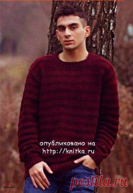 Мужской свитер, связанный спицами с описанием и выкройкой, Вязание для мужчин