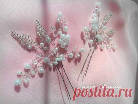 МК шпилька для волос из проволоки и бусин/ Hair pin wire and beads
