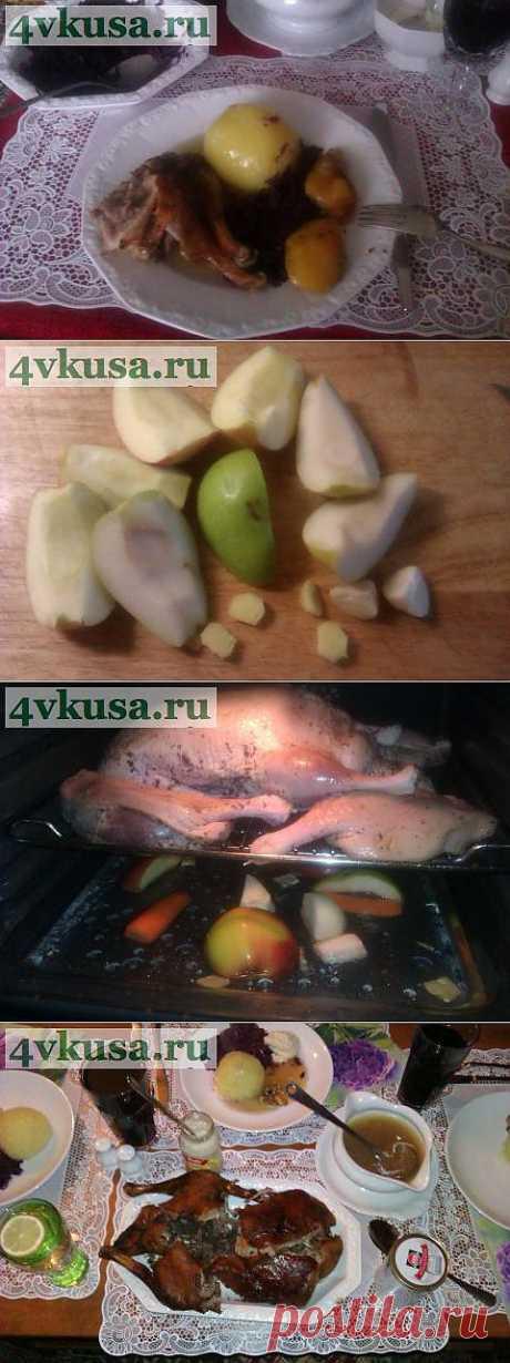Праздничная утка с яблоками и имбирем.   4vkusa.ru