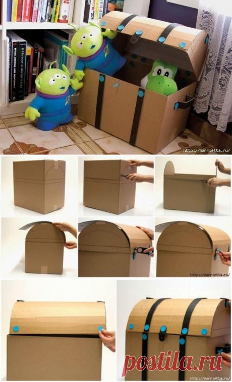 Сундучок из картонной коробки