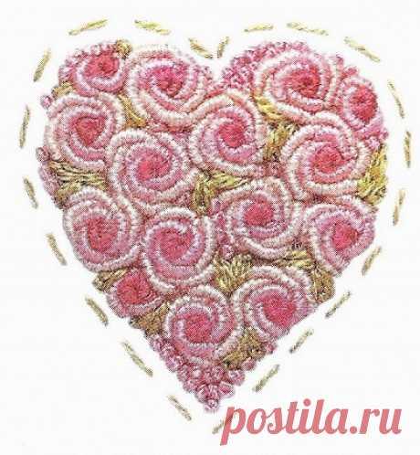 """Сердечки с розами в технике """"рококо"""" - МК в фото и советы Такими сердечками с розами, выполненными в технике """"рококо"""", можно украсить носовой платочек, воротничок, одежду ребенка или постельное белье. Техника рококо - поистине волшебная! Буквально несколько стежков, и вот уже на свет появляются замечательный розочки, которые также быстро могут..."""