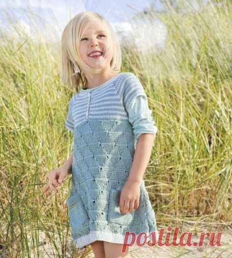 Детское платье спицами с сочетанием нескольких узоров | Моё хобби.Вязание для детей. | Яндекс Дзен