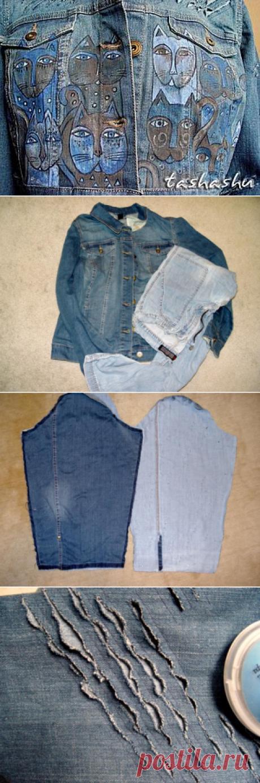 "Upgrade of a jean jacket or as ""уделать"" new jacket. - A fair of Masters - handwork, handmade"