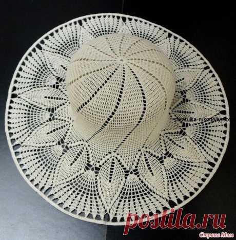 Белая шляпка крючком Шикарная шляпка крючком. Автор этой прекрасной летней шляпки Galyna2010 Вязала как всегда из тонкого египетского хлопка 50 гр- 300м Кловером 1,5.