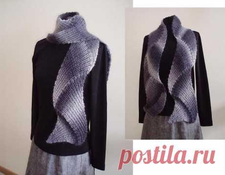 Красивый шарф в технике энтерлак из категории Интересные идеи – Вязаные идеи, идеи для вязания