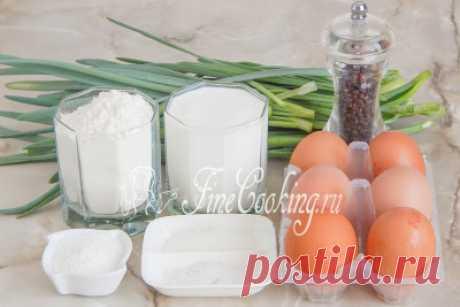 Наливной пирог с яйцом и зеленым луком.