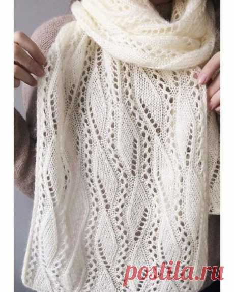 Нежный палантин спицами. Схема узора. / knittingideas.ru