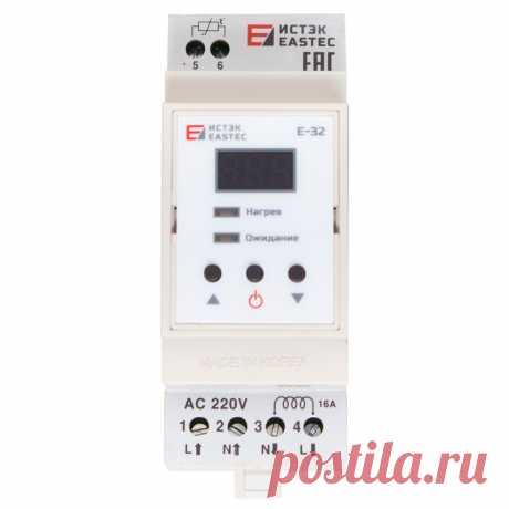 Терморегулятор EASTEC E-32 DIN, Ю.Корея электронный с выносным датчиком, для теплых полов https://tepluy-pol.ru
