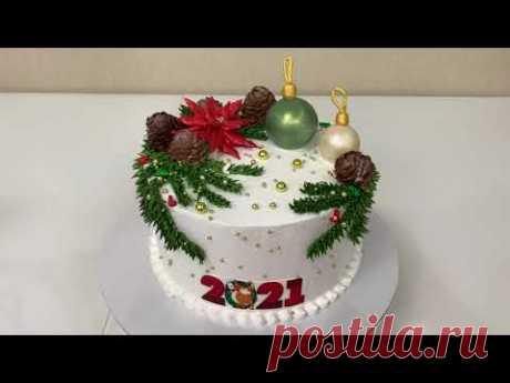 НОВОГОДНИЙ Торт с Пуансеттией! ИДЕЯ Украшения Торта! ТОРТ с  Новогодними Игрушками! Красивый торт!